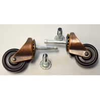"#9347 Shepherd 1 5/8"" stem caster - 2 pcs -Ball bearing - Brushed copper color."