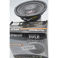 "Pyle Power PLP6WD 6"" 600 Watt Dual 4 Ohm Subwoofer - Black. Open box."