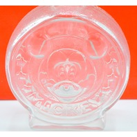"""The Walt Disney Company Glass Bank with Mickey and Minney Mouse on it. 7"""" Tall."""