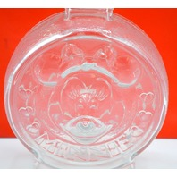 "The Walt Disney Company Glass Bank with Mickey and Minney Mouse on it. 7"" Tall."
