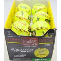 "Rawlings 10"" Soft Core Softballs (12) MOCSAE Level 1, Yellow for training and safety."