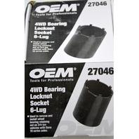 "OEM #27046 - 4WD Bearing Locknut Socket 6-Lug - New - Use with 1/2"" Drive Tools."