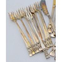10 Butter knives & 11 Appetizer Forks Community Coronation Silverplate.