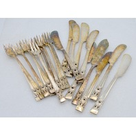 10 Butter knives & 11 Appetizer Forks Community Coronation Silverplate.