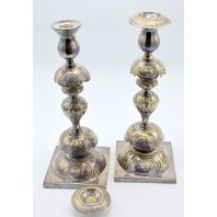Fraget & Co Petticoat Silver Plated Sabbath Candlesticks Warsaw Ca 1880 Judaica
