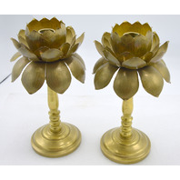 Vintage Brass Flower Candle Holders (2) - in great shape.