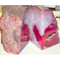 "Hugh pair of Magenta Quartz Crystal Geode Bookends 6 1/4"" tall - 5"" Deep."