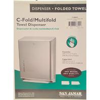 "San Jamar C-Fold/Multifold Tower Dispenser, Chrome, Touchless-11 3/8"" x4"". T1900XC"