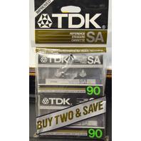 TDK SA 90 High Position Type 11 Standard Cassette Tapes - 2 - New.
