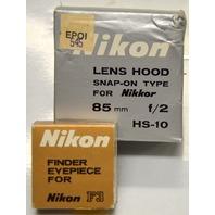 Nikon Finder Eyepiece for Nikon F3 & Nikon Lens Hood Snap-On  for 85mm f/2 HS-10