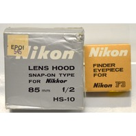 Nikon Finder Eyepiece for Nikon F3 & Nikon Lens Hood Snap-On  for 85mm f/2 HS-10