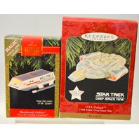 2 Hallmark Ornaments: U.S.S. Defiant Deep Space Nine and Shuttlecraft Galileo
