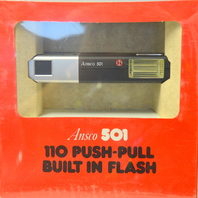 Vintage Ansco 501 110 Push-Pull Advance with Built in Flash Camera