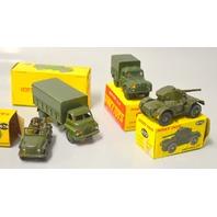Dinky Toys (4) 3 Ton Arny Wagon, Austin Champ, Armoured Car, 1 Ton Cargo Truck