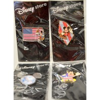 Disney Store Patriotic Tribute Pins Set of 4 All NOC - #50059