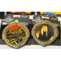 5 Disney Retired Pins: Snow White's Witch, Milificent,Pluto, MIckey,20,000Leagues.