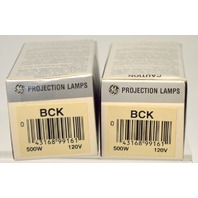 "2 - GE ""BCK"" Projection Lamps 500W - 120V -  New old stock."