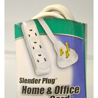 Slender Plug 6ft cord with 3 outlets for home and office, with Trinector