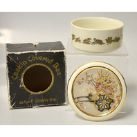 """Chokin Covered Box Engraved with 24K Gold """"Flower Cart"""" - 3 3/4"""" Round."""