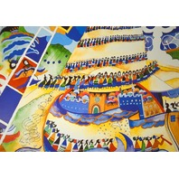 """""""Menorah"""" Limited Edition Offset Lithograph by Raphael Abecassis. Unframed."""