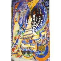 """Menorah"" Limited Edition Offset Lithograph by Raphael Abecassis. Unframed."