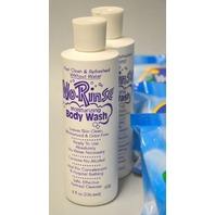 6- No-Rinse Shampoo Caps and 2 -6 Fl Oz No-Rinse Moisturizing Body Wash. New