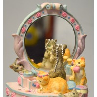 "The San Francisco Music Box Company-""Cats on a dressing Table with Mirror"""