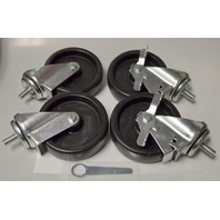 "True 5"" 1/2""-13 Stem Caster Set - 2 with Brake and 2 without, #830282 w/Wrench"