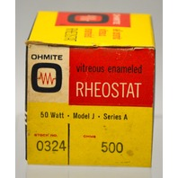 Ohmite Vitreous Emaneled Theostat 50 Watt,Model J,Series A 500 Ohm #0324