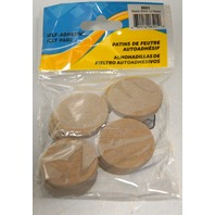 "Shepherd 1 1/2"" - 12 pc set of Beige Round Adhesive back Felt Pads  #6501"