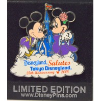 Disney Trading Around the World Pin-Mickey & Minnie Salutes Tokyo #25 Years LE