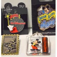 7 Disney Collectible Pins, 1 Disney Keychain - from Epcot and more.#59142