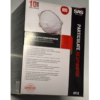 SAS Safety Particulate Respirator #8712, N95, 10 Masks.