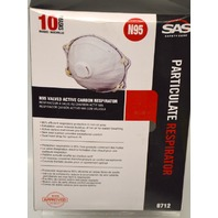 SAS Safety Particulate Respirator #8712, N95, 10 Masks.
