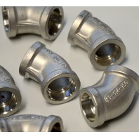 "Stainless Steel Pipe Fitting Unthreaded 45 Degree Elbow,SP-114-150, 1/2"" dia-9Pc."