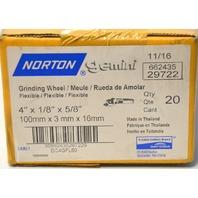 "Norton 4"" x 1/8"" x 5/8"" Genimi Flexible Grinding Wheel 20 pc box #29722"