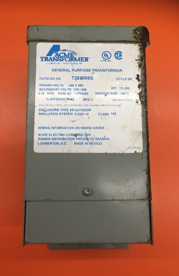 ACME Transformer/ Cat No T252008S Style SR/ 0.50 KVA/ Prim-volts 240x480, Sec-volts 120-240/1 Ph