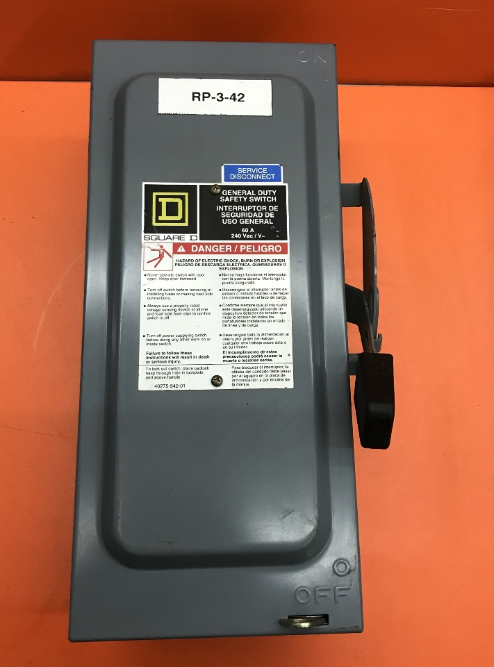 Square D 60 Amp Safety Switch, Cat No D222N- 240 Volt Single Phase