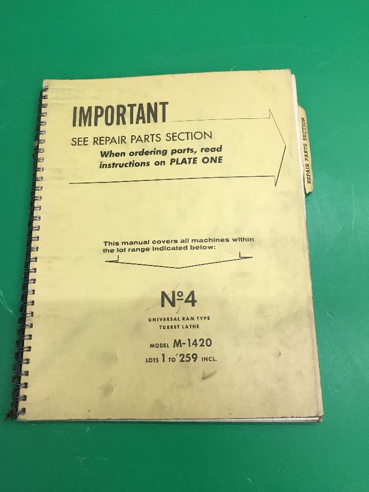 Warner & Swasey No.4 Ram Type Turrent Lathes M-1420 Service & Instruction