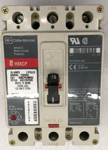 Cutler Hammer Series C Motor CIrcuit Protector 70 AMPs, 3 Poles 600VAC-250VDC, HMCP070M2C