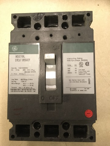 GE Industrial Circuit Breaker, 60 Amp, 480 VAC, 250 VDC, 3 pole, Cat No. TED134060V