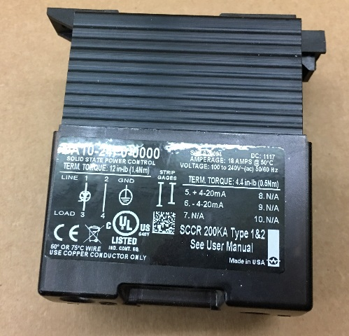 Solid state power control DA10--24F0-0000 18 AMPS 100-240V LOT OF 2