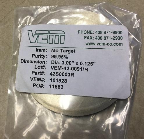 VEM Mo Target 42S0003R