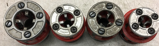 "Ridgid 00-R pipe threader die set   1/8"" 3/8"" 1/4"" 1/2"""