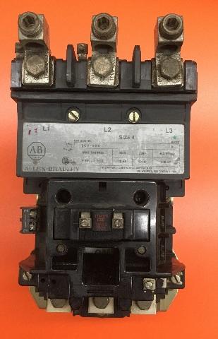 Allen Bradley Contactor, Cat No. 509-E0D, Size 4, 120V Coil,