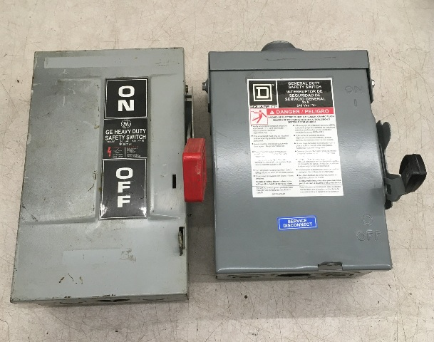 2- Safety switches-GE(30 Amp, 240 Vac) THN3321 + Square D(30 Amp, 240 Vac) DU221RB