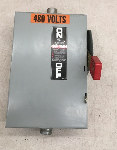 GE Heavy Duty Safety Switch 30 Amp, 600 Vac/250 Vdc / Type 1 Indoor Enclosure/ Cat TH3361