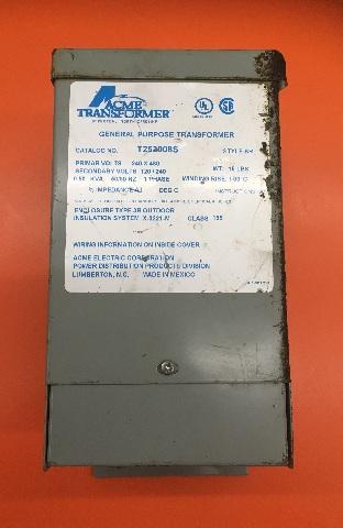 ACME Transformer/ Cat No T252008S Style SR/ 0.05 KVA/ Prim-volts 240x480, Sec-volts 120-240/1 Ph