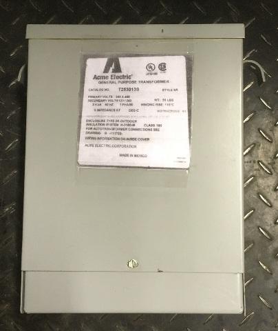 3 KVA ACME Electric General Purpose Transformer/ Cat No, T253013S Style SR