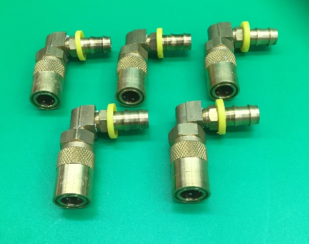 (5 Pcs) PARKER PPE 300 Series Body, 3/8 Hose ID, 1/4 In. Body, Brass Quick Coupler